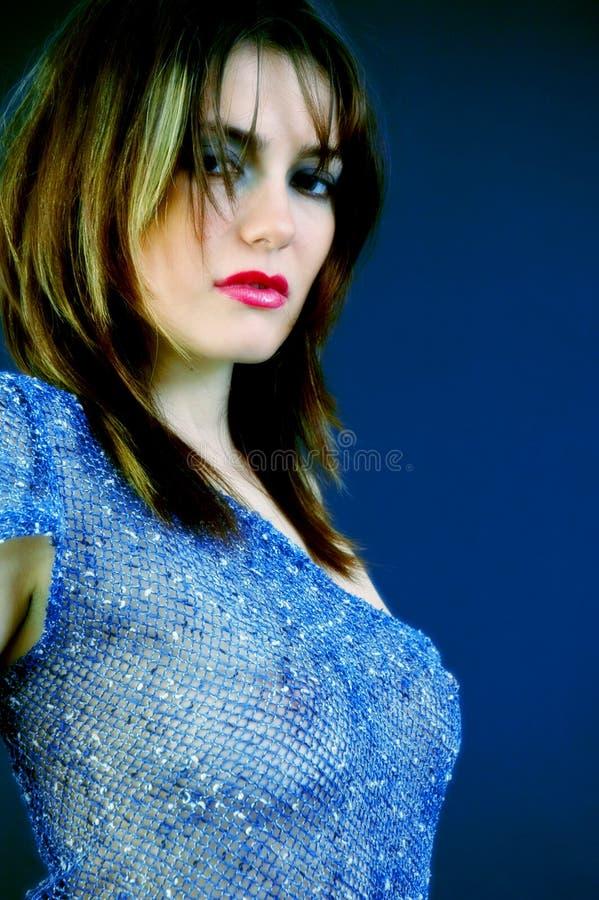 Mulher no azul imagens de stock