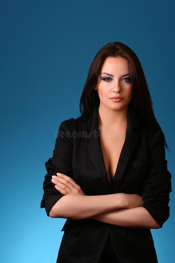 Mulher no azul fotografia de stock royalty free