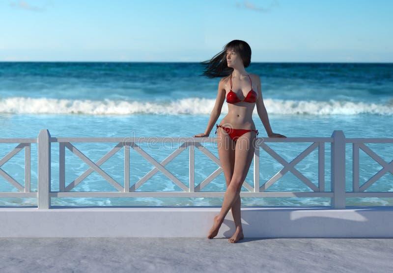 A mulher no biquini vermelho está pelo oceano em um dia bonito imagens de stock royalty free