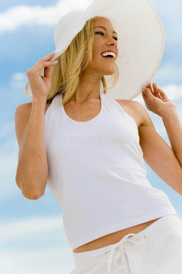 Mulher no branco imagens de stock royalty free