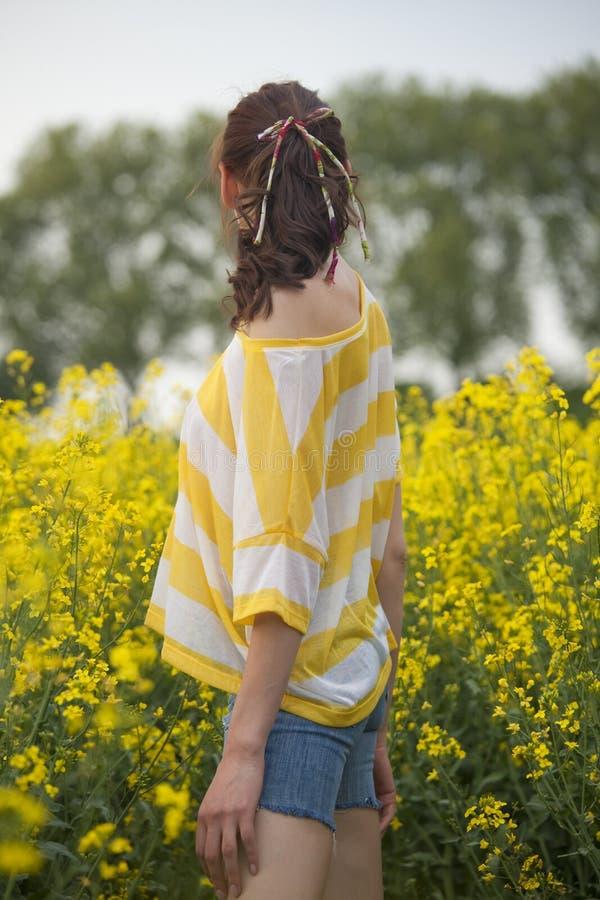 Mulher no campo amarelo imagens de stock royalty free