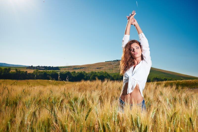 Mulher no campo de cereal dourado no verão foto de stock royalty free