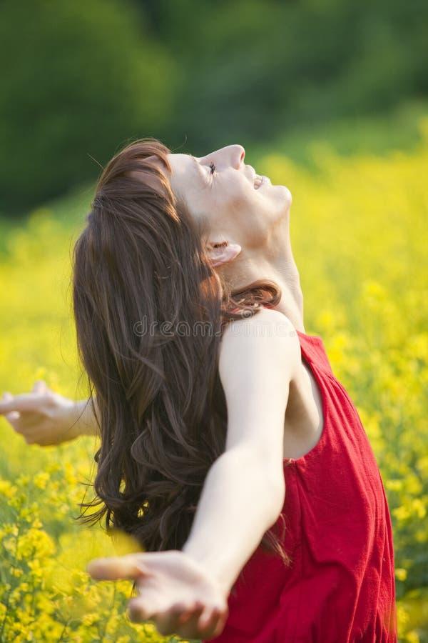 Mulher no campo de flor amarelo imagens de stock