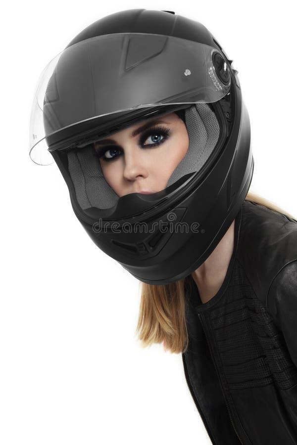 Mulher no capacete do motociclista imagens de stock royalty free