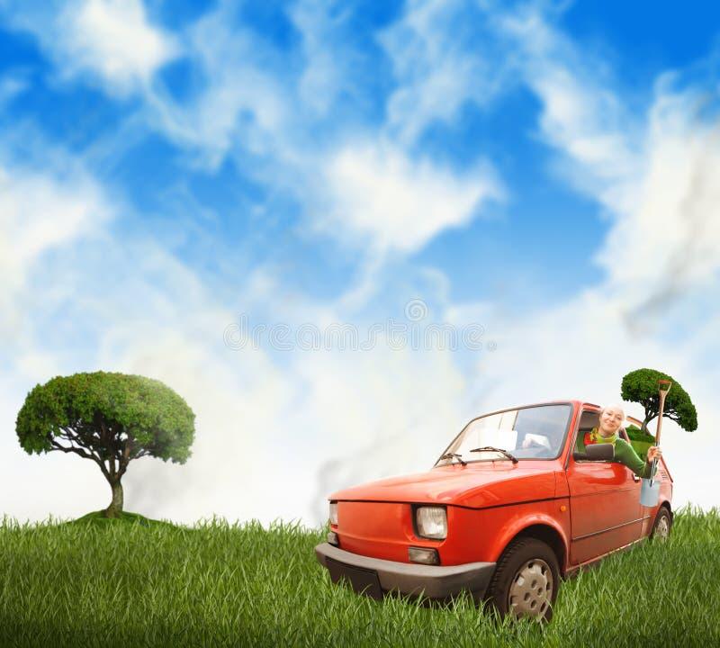 Mulher no carro vermelho em um prado fotos de stock royalty free