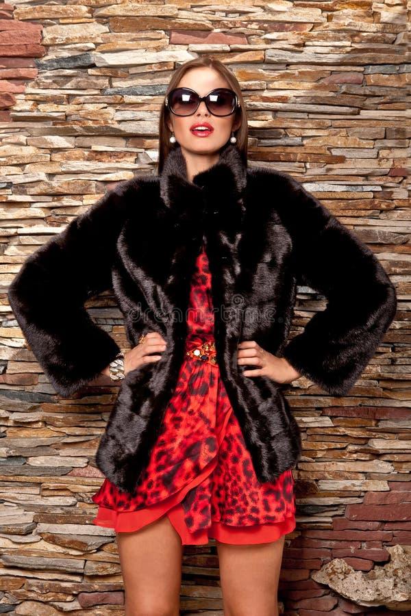 Mulher no casaco de pele preto luxuoso foto de stock royalty free