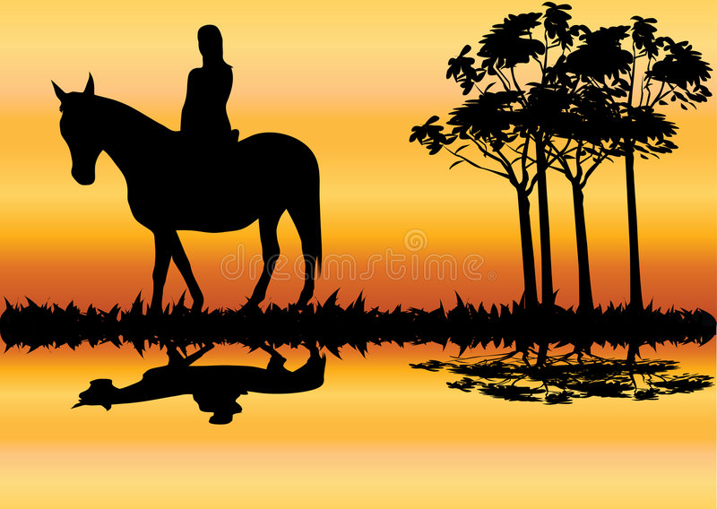 Mulher no cavalo ilustração stock