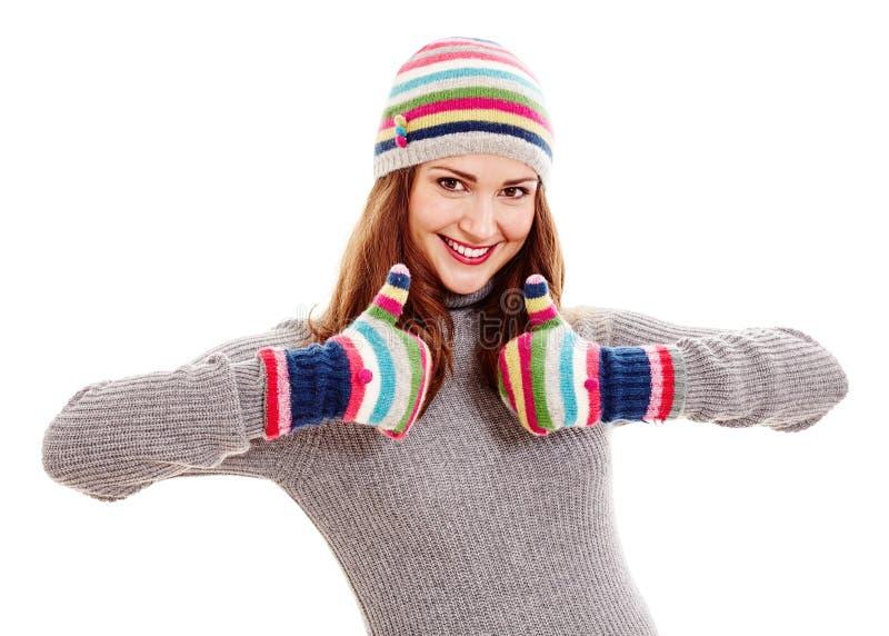 Mulher no chapéu e nos mitenes imagem de stock