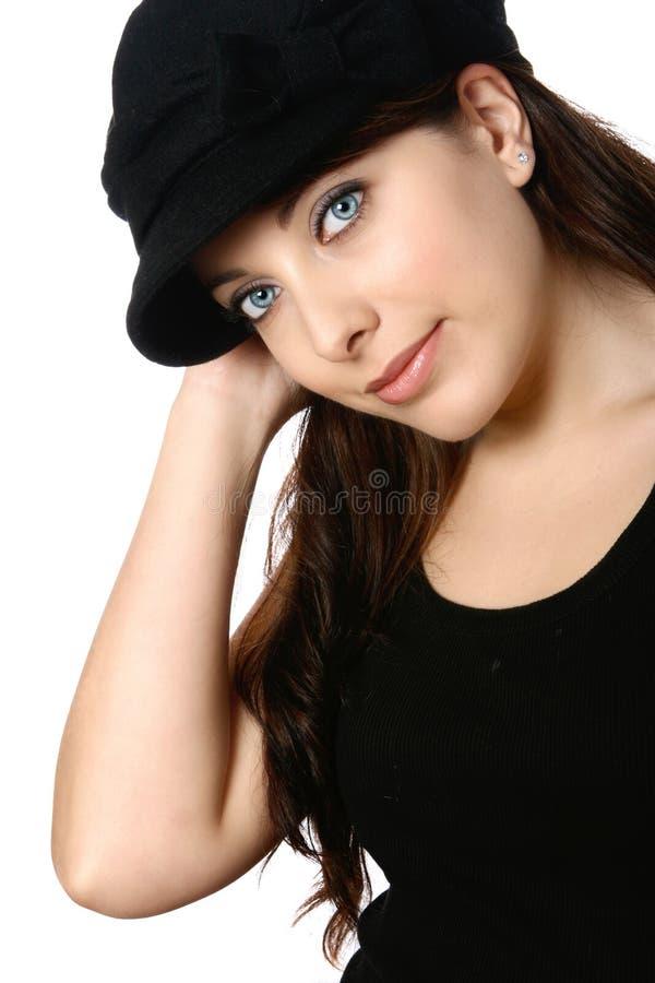 mulher no chapéu negro imagem de stock