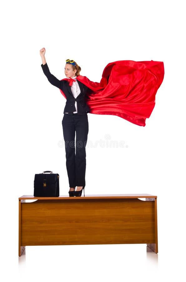 A mulher no conceito do super-herói isolada no branco foto de stock