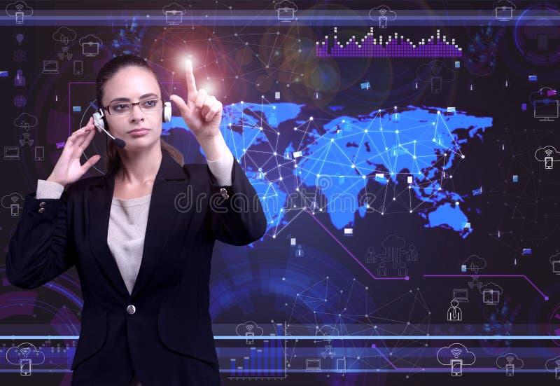 A mulher no conceito social da gestão de dados ilustração do vetor