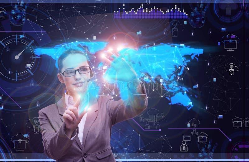 A mulher no conceito social da gestão de dados ilustração stock