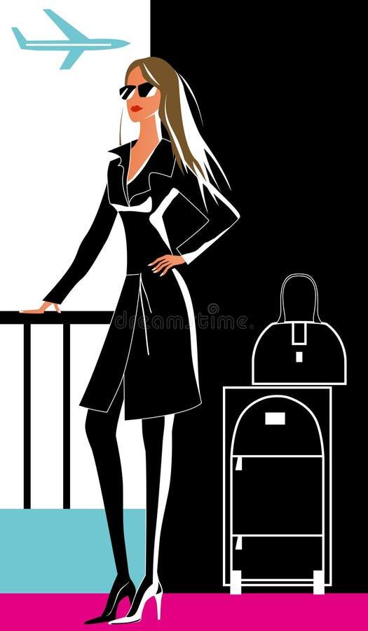 Mulher no curso ilustração do vetor