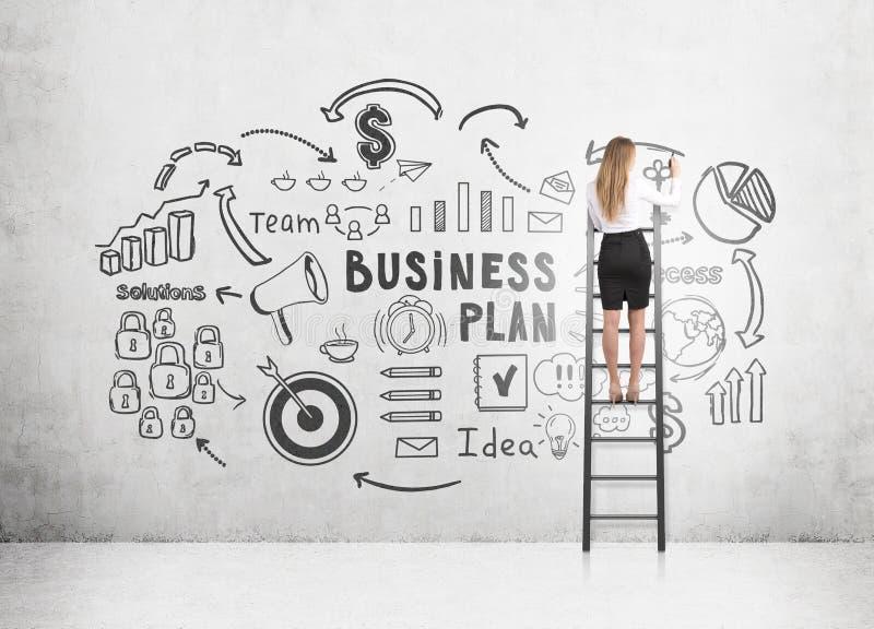 Mulher no esboço do plano de negócios do desenho da escada fotografia de stock royalty free