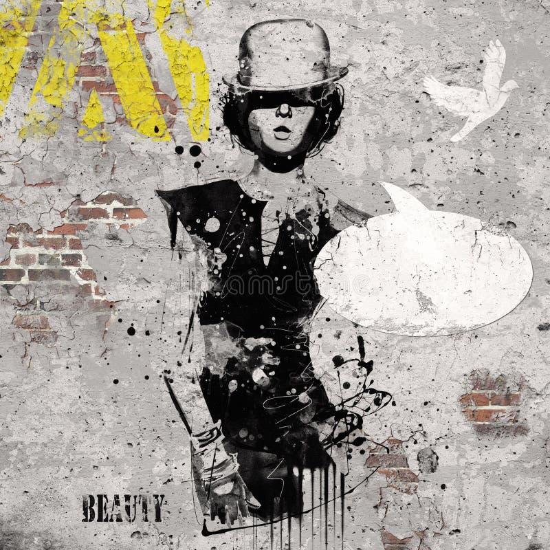 Mulher no estilo da taberna Ilustração da aquarela, forma do grunge ilustração royalty free