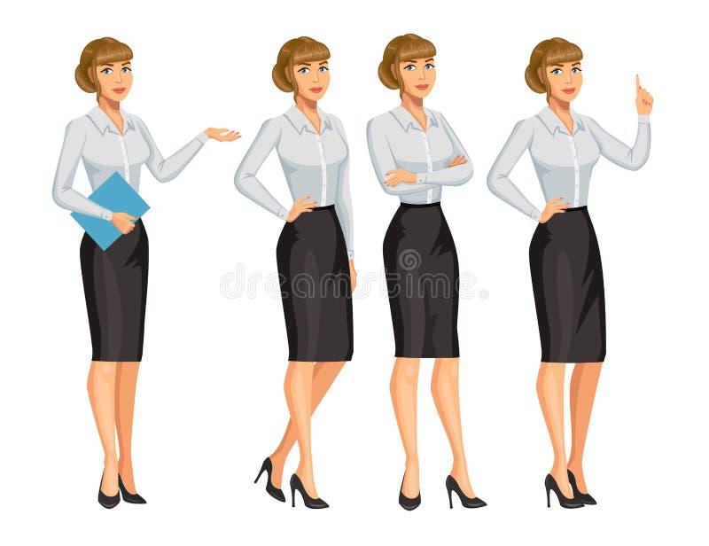 Mulher no estilo do negócio Menina loura elegante em poses diferentes ilustração do vetor