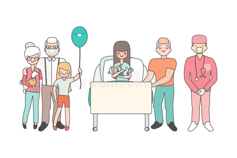 Mulher no hospital com bebê recém-nascido Ilustração do vetor no projeto linear do estilo Dos desenhos animados dos povos dos car ilustração do vetor