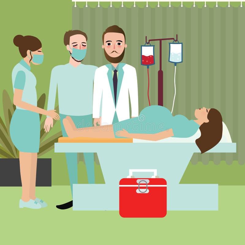 A mulher no hospital prepara-se entregando o processo de doação do trabalho do bebê do nascimento com doutor ilustração royalty free
