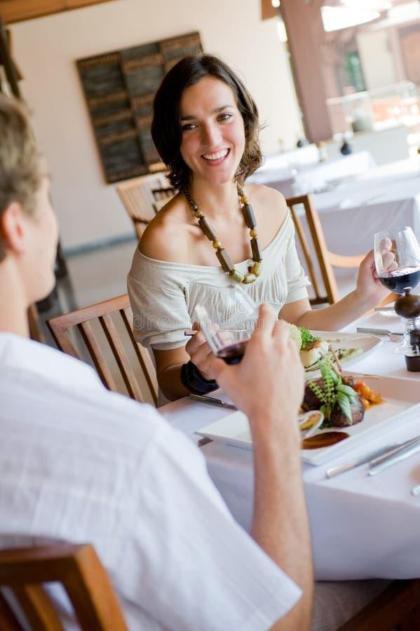 Mulher no jantar fotografia de stock royalty free