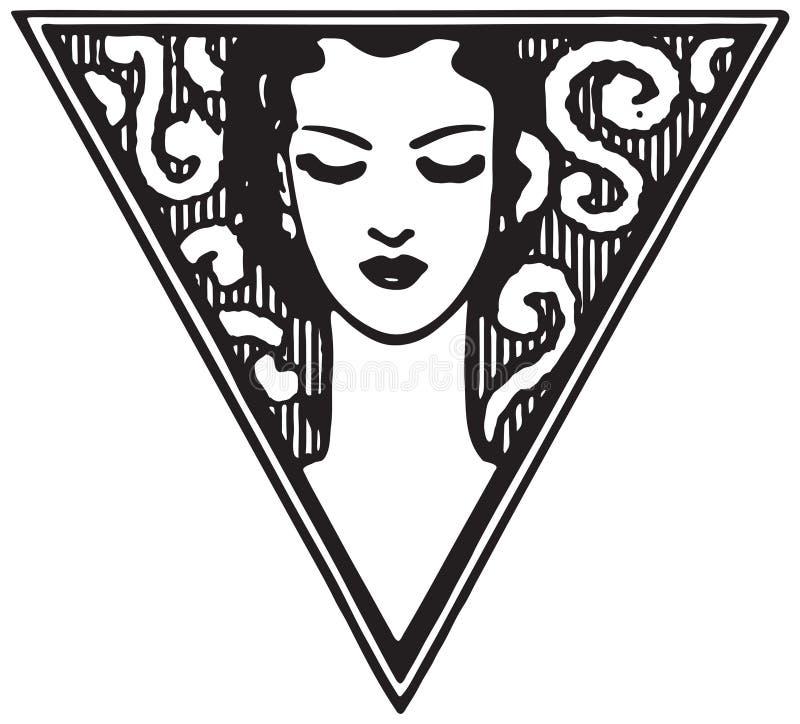 Mulher no motivo do triângulo ilustração royalty free