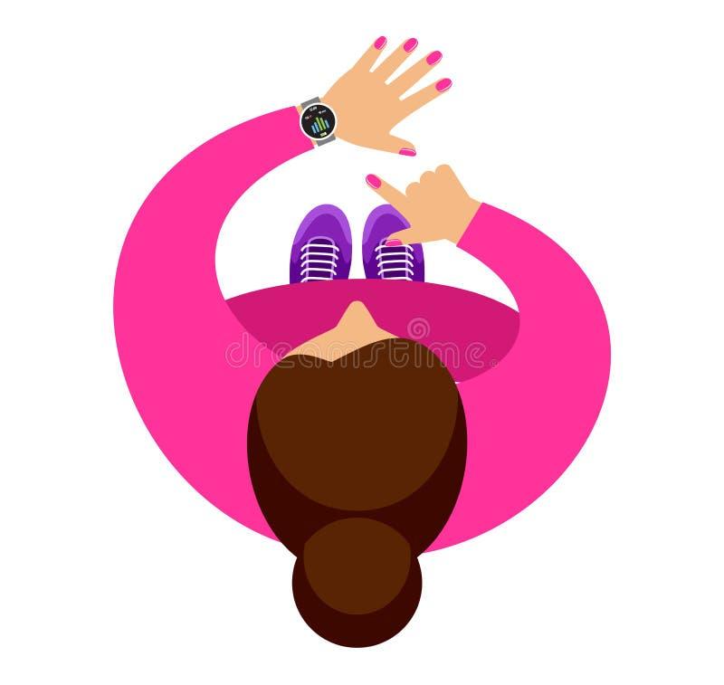 A mulher no movimento Smartwatch em um pulso ilustração do vetor
