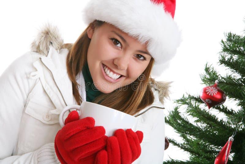 Mulher no Natal com café imagem de stock royalty free