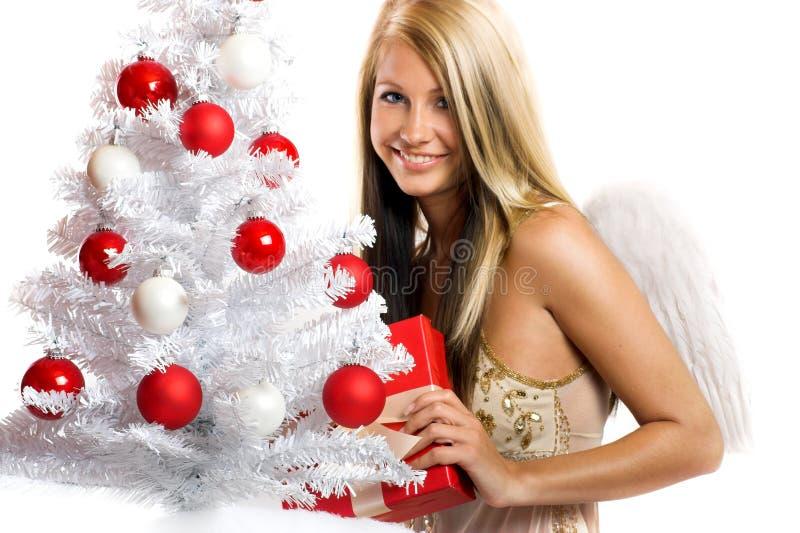 Mulher No Natal Com Um Presente Fotografia de Stock