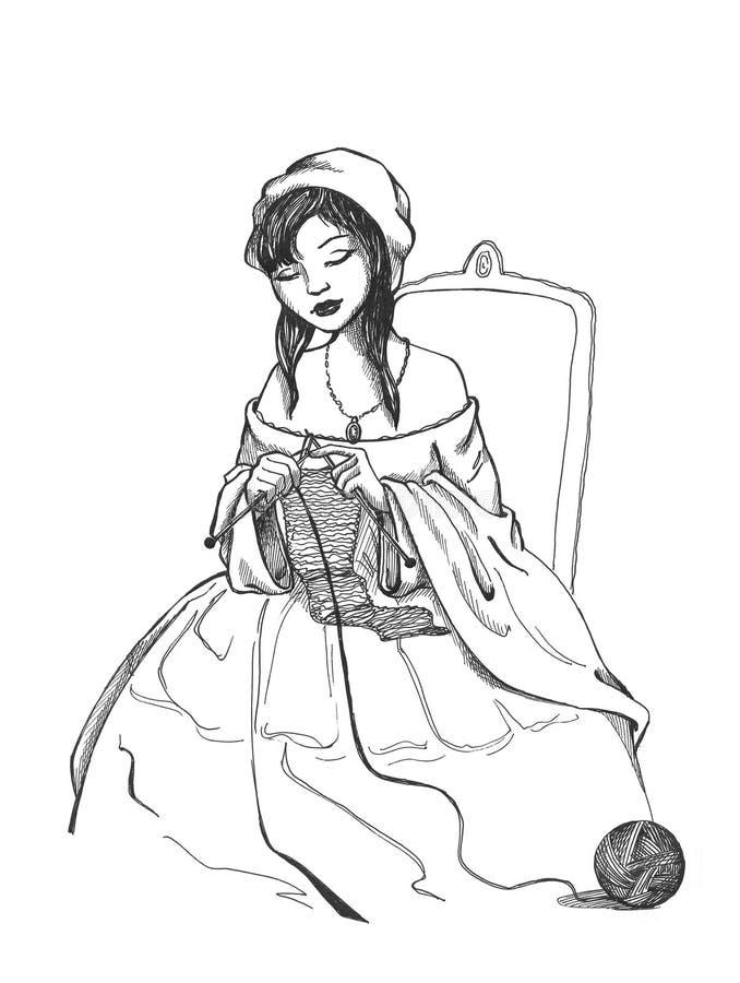 Mulher no needlework ilustração stock