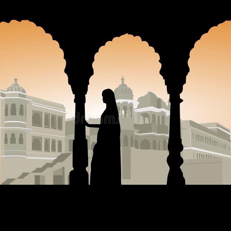 Mulher no palácio ilustração do vetor
