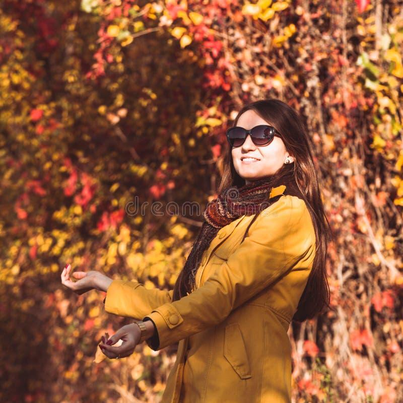 Mulher no parque outonal foto de stock royalty free