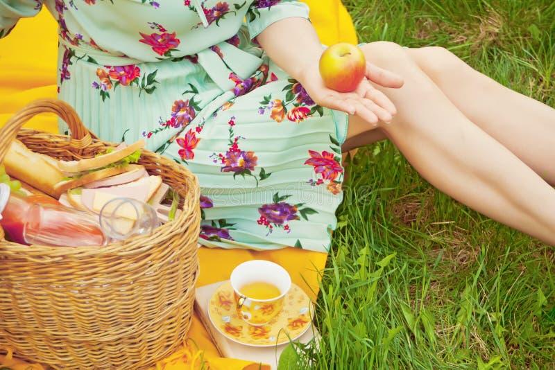A mulher no piquenique senta-se na tampa amarela e guarda-se a maçã em uma mão Perto da cesta com alimento, frutos, flor e copo d imagem de stock