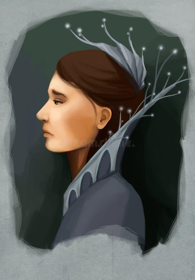 Mulher no retrato do colar ilustração royalty free