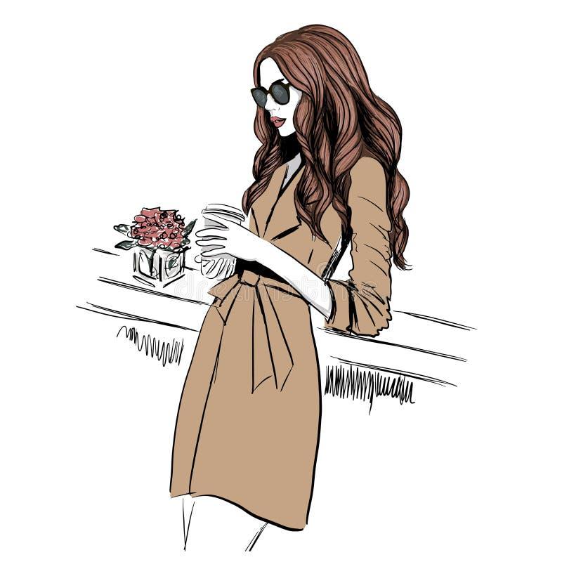 Mulher no revestimento de trincheira ilustração royalty free