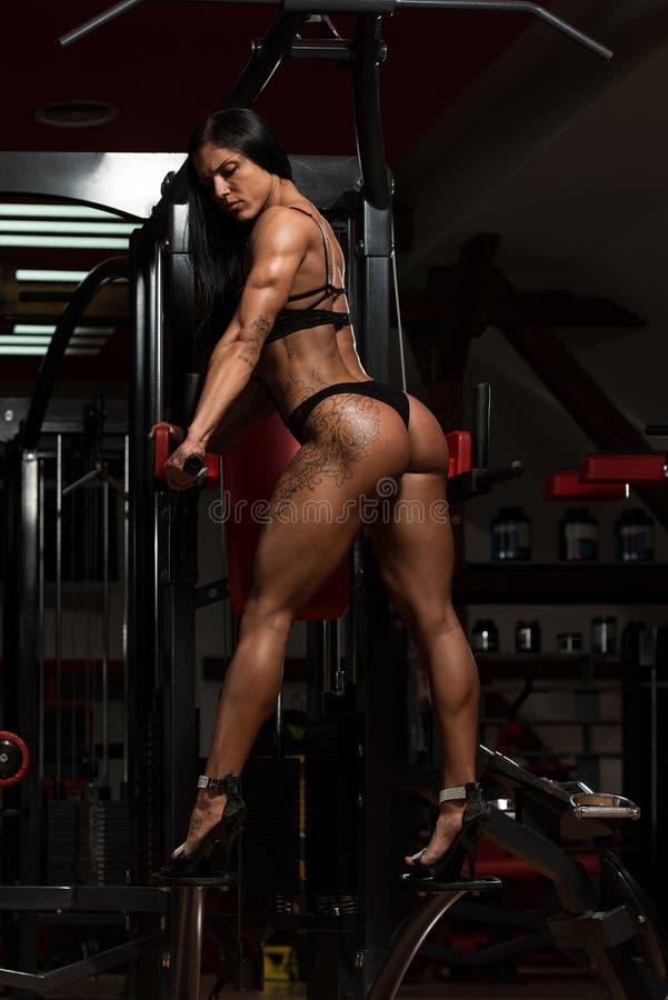 Mulher no roupa interior que mostra seu corpo bem treinado imagens de stock