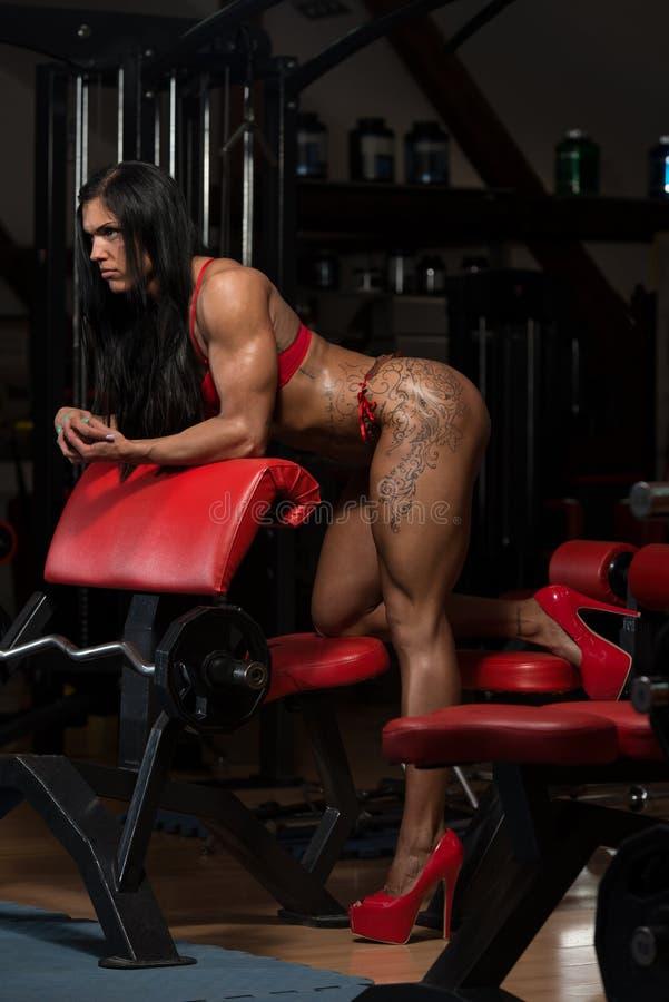Mulher no roupa interior que mostra seu corpo bem treinado fotografia de stock