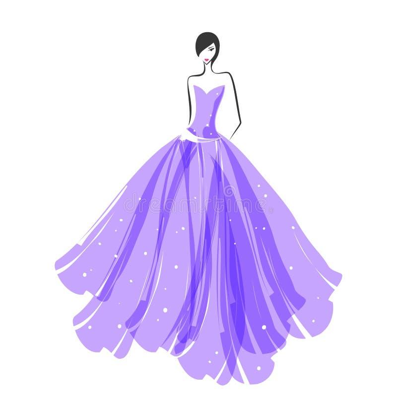 Mulher no roxo do vestido de bola ilustração stock