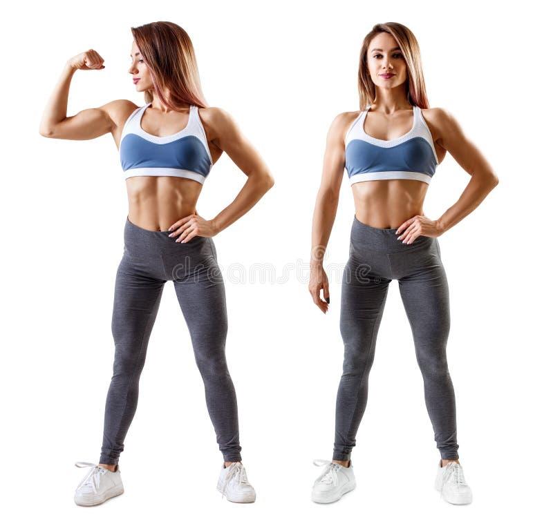 A mulher no sportswear demonstrou seu corpo atlético muscular imagens de stock royalty free