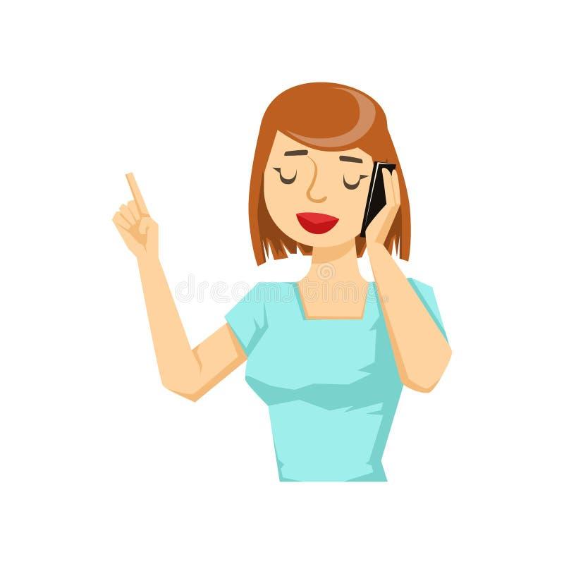 Mulher no t-shirt azul que conversa em Smartphone, parte dos povos que falam na série do telefone celular ilustração royalty free