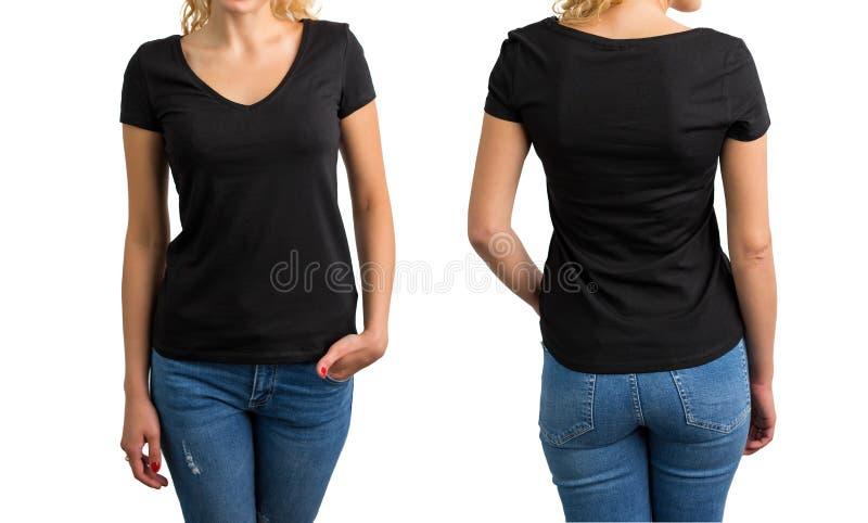 Mulher no t-shirt, na parte dianteira e na parte traseira pretos do decote em V fotos de stock