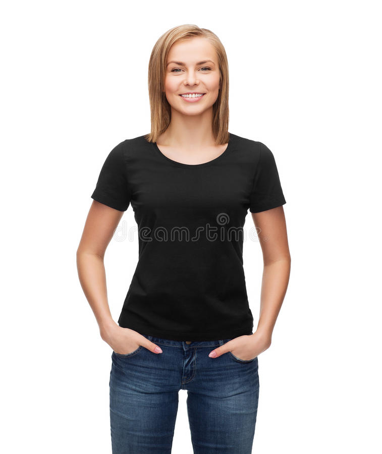 Mulher no t-shirt preto vazio imagens de stock royalty free