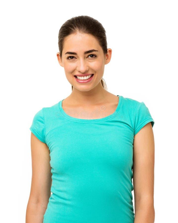 Mulher no t-shirt que está contra o fundo branco foto de stock royalty free