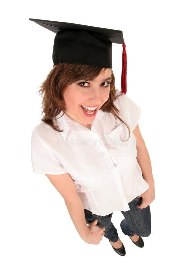 Mulher no tampão da graduação imagens de stock royalty free