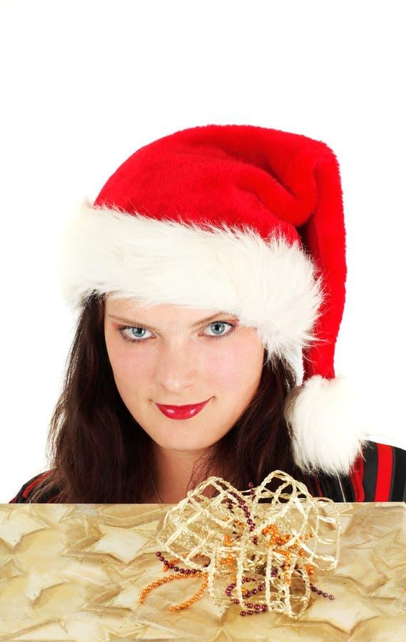 Mulher no tampão de Santa fotos de stock