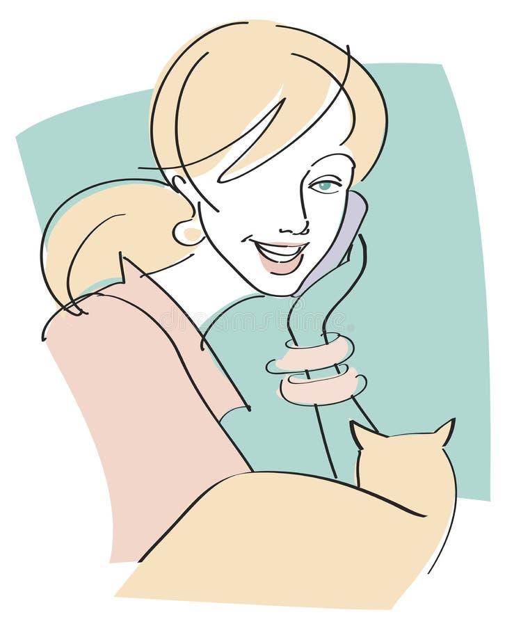 Mulher no telefone de pilha com gato ilustração royalty free