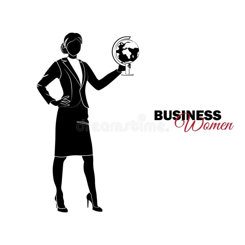 Mulher no terno de negócio Mulher de negócios com um globo ilustração stock
