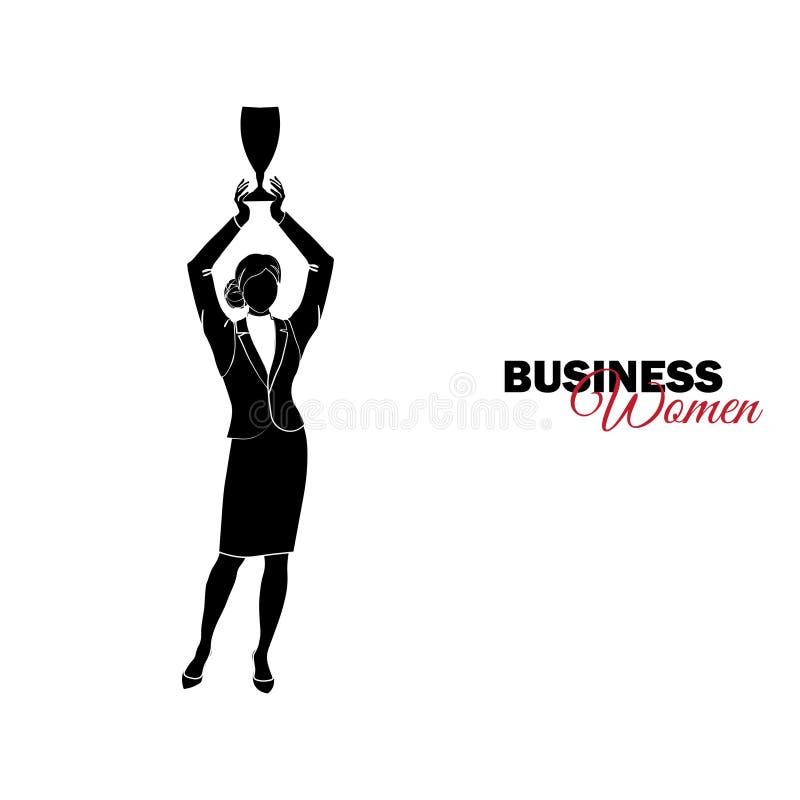 Mulher no terno de negócio A mulher de negócios guarda um copo sobre sua cabeça ilustração stock