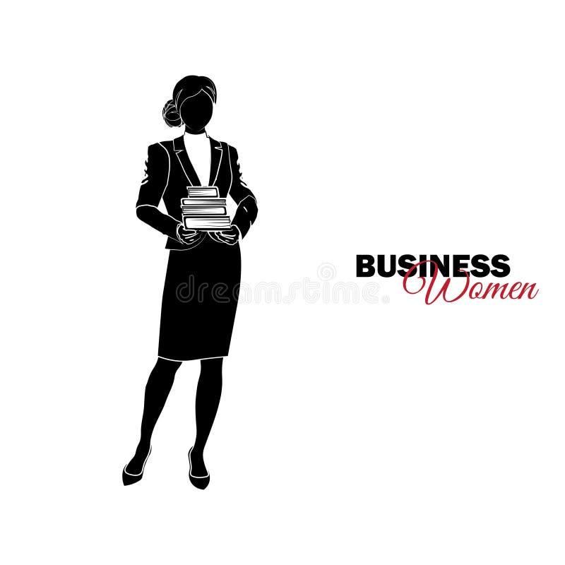Mulher no terno de negócio A mulher de negócios guarda uma pilha de livros ilustração stock