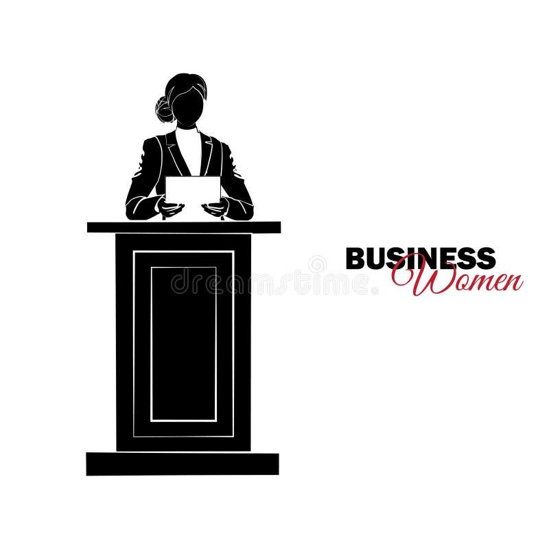 Mulher no terno de negócio A mulher de negócios lê um relatório no pódio ilustração royalty free