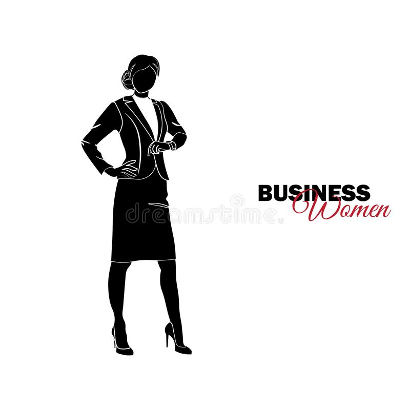 Mulher no terno de negócio A mulher de negócios olha o pulso de disparo ilustração stock