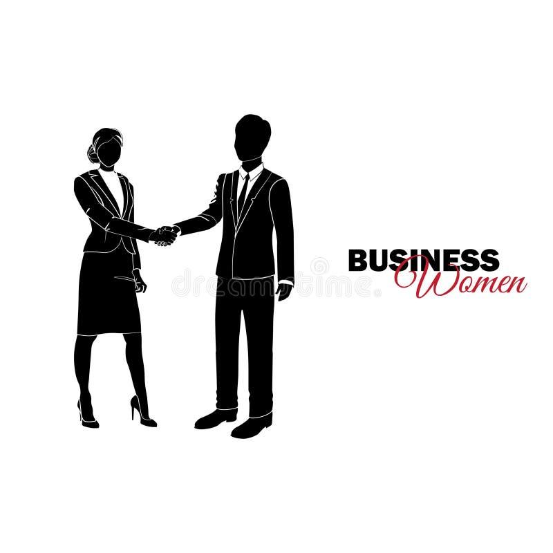 Mulher no terno de negócio Mulher de negócios que agita as mãos com uma mulher de negócios ilustração royalty free